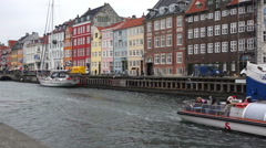 Copenhagen Nyhavn Canal and District Stock Footage