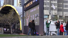 Local News Production team and Super Bowl city - stock footage
