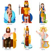 Flat Color Olympic Gods Icons Set Stock Illustration