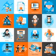 Collection Of Icons For Auction Bargaining - stock illustration