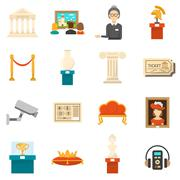 Museum Decorative Flat Color Icons Set - stock illustration