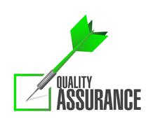Quality Assurance check dart sign concept Stock Illustration