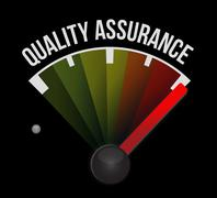 Quality Assurance meter sign concept - stock illustration