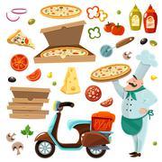 Pizza Cartoon Set - stock illustration