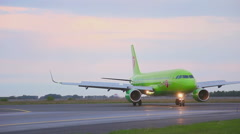 Airplane taxiing on runway Stock Footage