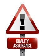 Quality Assurance warning road sign concept Stock Illustration