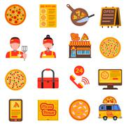 Pizza colored set Stock Illustration