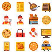 Pizza colored set - stock illustration