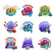 Anniversary emblems set - stock illustration