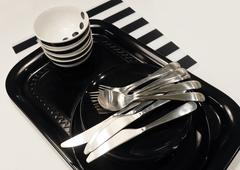 Kitchen Utensil, Set of Ceramic Plates, Bowls and Silverware, Preparing for S Stock Photos