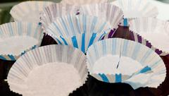 Kitchen Utensil, Empty Paper Muffin Cups, Baking Cups or Paper Cupcake Cups, Stock Photos