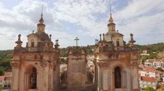 Historic Tower Alcobaca Monastery Mediaeval Roman Catholic Architecture Portugal Stock Footage