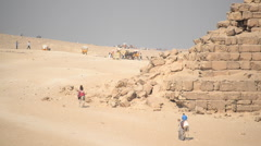 Time Lapse of People and the Pyramids of Giza Egypt Stock Footage