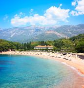 Beach and Hotel in Montenegro at Adriatic Sea Stock Photos