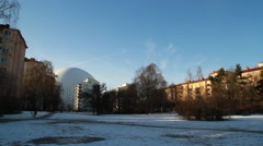 Wide angle Stockholm Globe Arena - Ericsson Globe from park Stock Footage