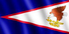 Flag of American Samoa waving in the wind Piirros