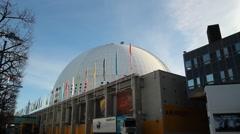 Stockholm Globe Arena - Ericsson Globe with sky Stock Footage