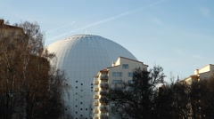 Pan & tilt from Stockholm Globe Arena - Ericsson Globe. Residential area. Stock Footage