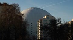 Pan tilt to sky from Stockholm Globe Arena - Ericsson Globe Stock Footage