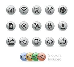 Connectivity Icons -- Metal Round Series Stock Illustration