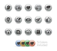 Social Sharing and Communications -- Metal Round Series Stock Illustration