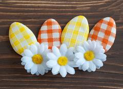 Artificial Easter eggs with flower Stock Photos