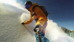 Slow Motion Selfie Snowboarding - stock footage