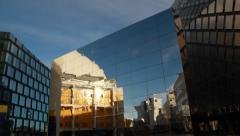 Stockholm Globe Arena - Ericsson Globe reflected in mirror sculpture Stock Footage