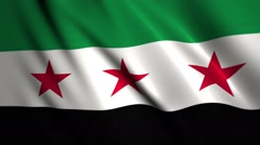 Syrian flag of Syria waving in the wind Stock Footage