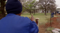 Workers erecting a fence 2 Stock Footage