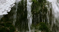 ULTRA HD 4k,real time Wonderful waterfall in winter time with traces of ice Stock Footage