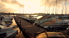 Beautiful View at Harbour with Yachts Stock Footage