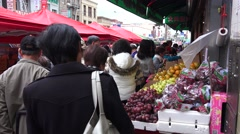 Crowded street market in China Town Stock Footage