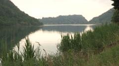 The Lake beautiful Segrino in sunset Stock Footage
