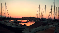 Beautiful Harbour of Rethymno at Sunrise Stock Footage