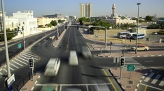 Arabic city junction, daytime traffic, time lapse from top point Stock Footage