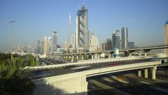Flyover road above Sheikh Zayed highway, traffic time lapse shot Stock Footage