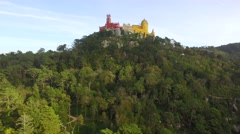 Drone Mountaintop Pena National Palace Romanticist Sintra Famous Travel Footage Stock Footage