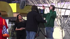 Local News Production team and Super Bowl, WOMAN - stock footage