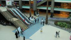 Staircase, escalators in mall atrium, people move up and down, time lapse - stock footage