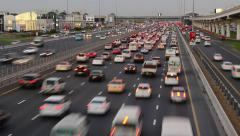 Dense traffic gather to congestion, jam at Sheikh Zayed road, time lapse - stock footage