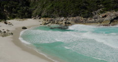Waves washing the shoreline Isthmus Bay, Western Australia Stock Footage