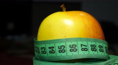 Fresh Apple With Measuring Tape 4k - stock footage