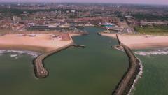 Scheveningen Beach holland Aerial flight. Stock Footage