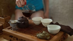 Traditional tea ceremony, a beautiful young girl - a tea master Stock Footage