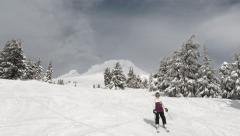 Skiers And Boarders On Mt Hood Oregon Stock Footage