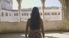 Footage Happy Woman Walking Historic Colonnade Arch Travel Dress Tourist Stock Footage