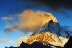 Sunrise on the Matterhorn, 4478m, Zermatt, Valais, Swiss Alps, Switzerland Stock Photos
