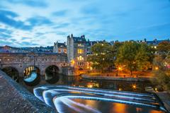 Bath Weir and Pulteney Bridge on the River Avon, Bath, UNESCO World Heritage - stock photo