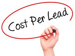 Man Hand writing Cost Per Lead with black marker on visual screen - stock photo